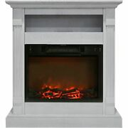 Cambridge 34-in. Sienna Electric Fireplace W/ 1500w Log Insert And White Mant...