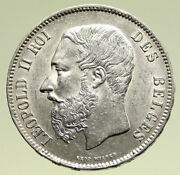 1871 Belgium With King Leopold Ii And Lion Vintage Silver 5 Francs Coin I95173