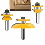 Oletbe 3 Pcs Router Bit Set 1/2-inch Shank Round Over Cove Raised Panel Cabinet