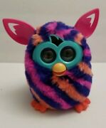 2012 Furby Boom With Navy Blue Orange Pink Diagonal Stripes Interactive Toy