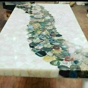 Natural White Agate Multi Petrified Stone Coffee/dinning/side/center Table Top