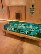 Green Agate Center/side/end Dining Table Top Handmade Outdoor Furniture Dandeacutecor