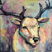50x50 Abstract Deer Wall Art Canvas Large Oil Painting Wild Animal Artwork