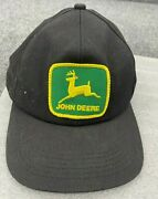 Vintage 90s John Deere Made In Usa K-products Clean Patch Hat Snapback Black Cap