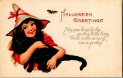 Vintage Stecher Litho Company Cute Girl Witch With Black Cat Halloween Postcard