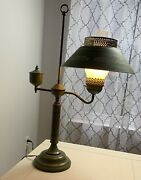 Vintage Brass Student Oil Style Desk Lamp With Metal And Milk Glass Shades