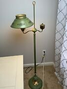 Vintage Brass Oil Style Floor Lamp With Metal And Milk Glass Shades - E-20773