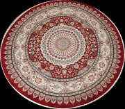 Vegetable Dye Floral Tebriz Oriental Red Area Rug Hand-knotted Wool 9and039x9and039 Round