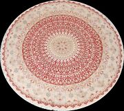 Red Vegetable Dye Tebriz Oriental Hand-knotted Area Rug Geometric Wool 8x8 Round