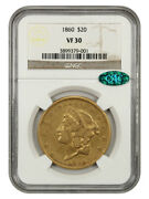 1860 20 Ngc/cac Vf30 - Liberty Double Eagle - Gold Coin