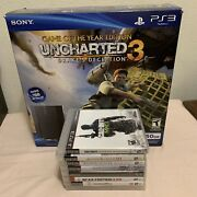 Sony Playstation Ps3 250gb Uncharted 3 Bundle - Tested + 8 Games Lot
