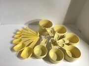 Vintage Yellow Set Of 13 Tupperware Kitchen Measuring Cups And Spoons