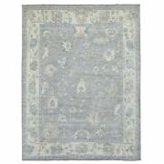 9and0391x11and0394 Hand Knotted Gray Angora Oushak Extra Soft Wool Oriental Rug R68919