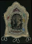 Omg Antique Tintype Photo Two Pug Dogs In Victorian Folk Art Bead Frame