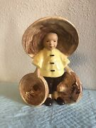 Vintage Mccarty Brothers Mcm California Pottery Asian Man Boy Planter