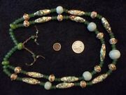 Beautiful Old Antique Trade Bead Necklace Wedding Cake Venetian White And Green