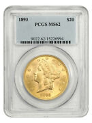 1893 20 Pcgs Ms62 - Liberty Double Eagle - Gold Coin