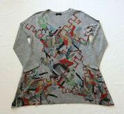 Inoah Art To Wear Long Sleeve Tunic Shirt Top Abstract W Pockets Womenand039s Large