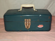 Vintage Blue Union Steel Chest Corp Leroy Ny Tackle Tool Box