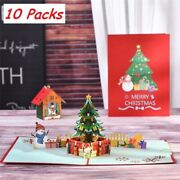 3d Pop Up Cards 10 Packs Xmas Greeting Gift Christmas Tree Holiday Free Shipping
