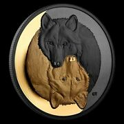 2021 The Grey Wolf Black And Gold 20 Fine Silver 1oz Coin New Ships Next Day