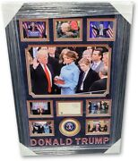 Donald Trump Signed Autographed Framed Photo Cut Collage Inauguration Gv876911