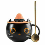 2021 Starbucks Black Cat Cup Water Mug Halloween Gift With Witch Cap Lid And Spoon