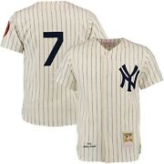 New York Yankees Mickey Mantle 7 Mitchell And Ness 1952 Cream Authentic Jersey