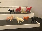 Vintage Lot Of 8 Hong Kong White And Multi-color Plastic, Toy Dogs