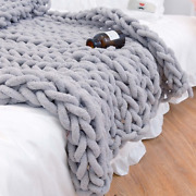 Chenille Chunky Knitted Blanket Weaving Blanket Mats Throw Chair Warm Yarn Knit