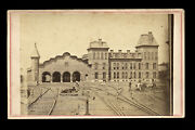 Rare 1860s St. Albans Vermont Train Shed Railroad Station And Workers Cdv Photo