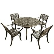 Outdoor Mesh Lattice 48 Inch Round Dining Set With Four Bronze 5-piece Sets