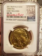Gold Coin 2017 American Buffalo 50 Early Release Ngc Ms70 .9999 Fine 1 Ounce