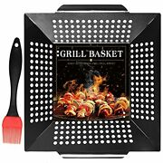 Pomeat Bbq Vegetable Grill Basket Heavy Duty Veggie Grilling Baskets For Outdoor