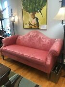 Ethan Allen Pink Rose Victorian Style Camelback Sofa Couch Pick Up Only