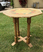 Antique Monterey Mason Furniture La Western Tall Fancy Painted Table 30andrdquo Signed