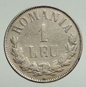 1873 Romania With King Carol I And Shield Large Anitque Silver 1 Leu Coin I94764