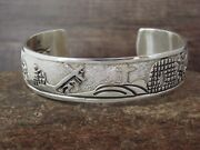 Navajo Jewelry Sterling Silver Storyteller Crucifixion Cuff By R. John