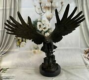 Flying Fishing Bald Eagle Military American Patriotic Bronze Marble Base Statue