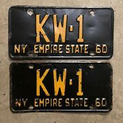 1960 New York License Plate Pair Kw-1 Yom Dmv Clear 1961 Ford Chevy Low Number