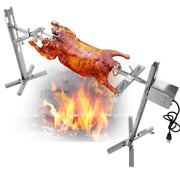 Pig Chicken Rod Charcoal Bbq Large Grill Rotisserie Spit Roaster 15w Motor Kits