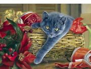 Diamond Painting Pet Cat And Christmas Decorations In The Basket Design Portrait