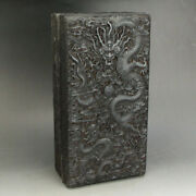 Chinese Old Antique Huanghuali Wood Handcarved Cloud Dragon Box Statue