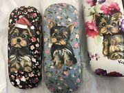 5 Yorkie Puppies Hand Painted On 4 Reading Glasses Cases Super