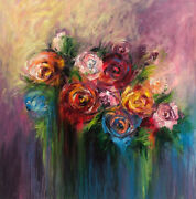 46x46 Flowers Abstract Art Still Life Oil Paintings On Canvas Floral Vivid Art