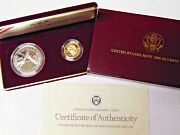1988 Olympic 2 Coin Proof Set 5 Gold Half Eagle And Silver Dollar W/ Box And Coa
