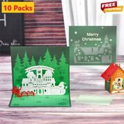 3d Pop Up Cards 10 Packs Xmas Greeting Holiday Christmas Gift Free Shipping