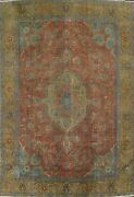 Antique Overdyed Floral Tebriz Area Rug Evenly Low Pile Oriental Handmade 9and039x12and039