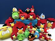 """Used Lot 28 Angry Birds Plush Toys Pigs Large Medium Small Up To 14"""" Long"""