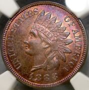 1888 Indian Head Cent/penny Wild Purple Tones Scarce Ngc Mint State 65 Red Brown